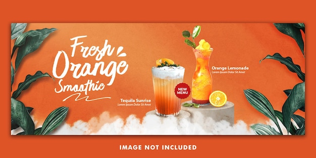 Menu de bebidas com suco de laranja modelo de banner de capa do facebook para promoção de restaurante