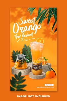 Menu de bebidas com suco de laranja postagem nas mídias sociais modelo do instagram para promoção de restaurantes