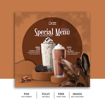 Menu de bebidas de milkshake modelo de banner de postagem no instagram de mídia social tropical