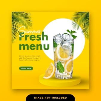 Menu de bebidas especiais mídias sociais instagram post banner template