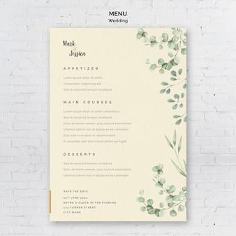 Menu de casamento minimalista