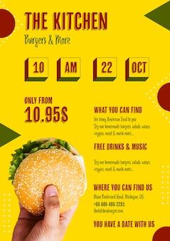 Menu de comida americana com hambúrguer