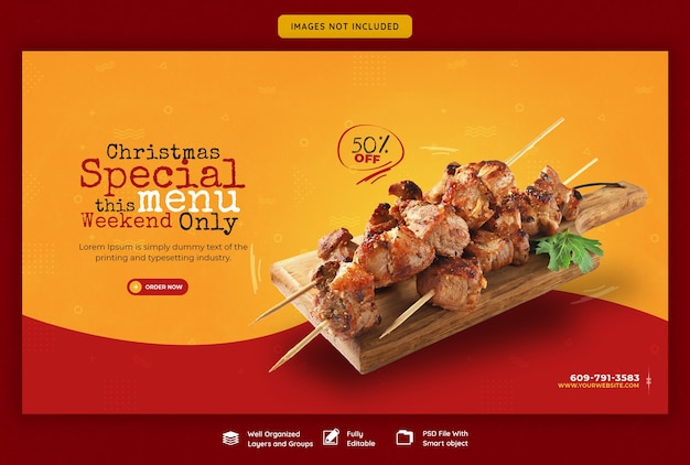 Menu de comida de feliz natal e modelo de banner da web do restaurante