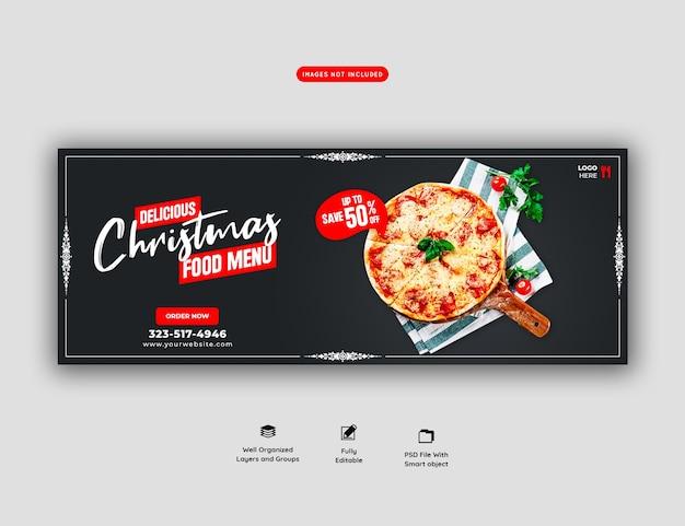 Menu de comida de feliz natal e modelo de banner de capa de pizza deliciosa
