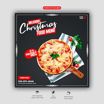 Menu de comida de feliz natal e modelo de banner de mídia social de pizza deliciosa