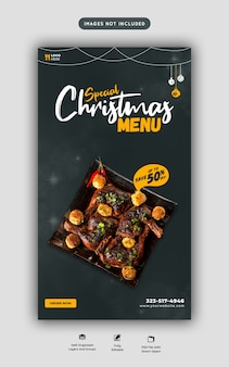 Menu de comida de feliz natal e modelo de história de mídia social de restaurante