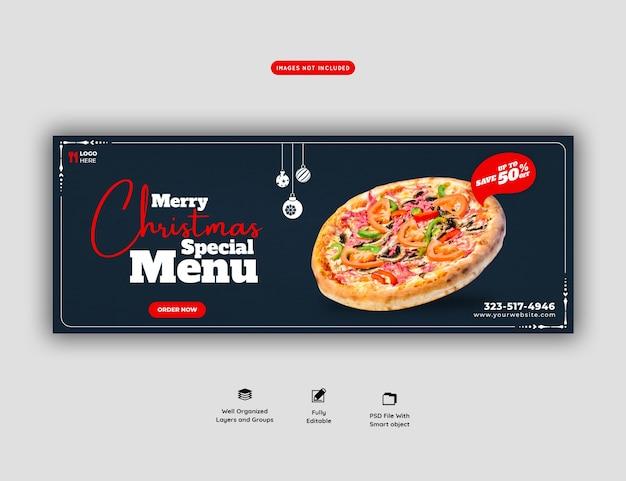 Menu de comida de feliz natal e pizza deliciosa modelo de banner de capa do facebook