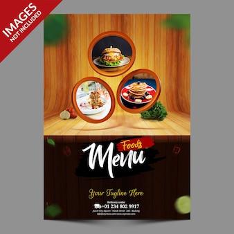Menu de comida de restaurante com modelo de fundo de madeira
