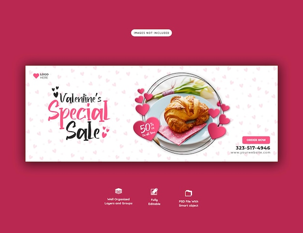 Menu de comida dos namorados e modelo de capa do facebook do restaurante