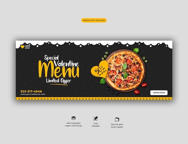 Menu de comida dos namorados e pizza deliciosa modelo de banner de capa do facebook
