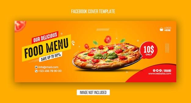 Menu de comida e capa do facebook do restaurante e modelo de design de banner da web