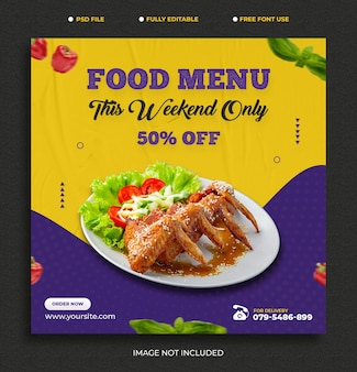 Menu de comida e comida deliciosa modelo de banner de postagem no facebook grátis