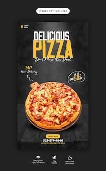 Menu de comida e deliciosa pizza instagram e modelo de história do facebook