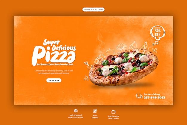 Menu de comida e modelo de banner deliciosa pizza web