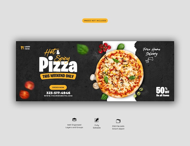 Menu de comida e modelo de capa de mídia social de pizza deliciosa