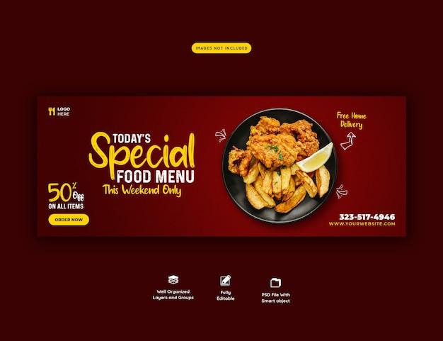 Menu de comida e modelo de capa de mídia social de restaurante