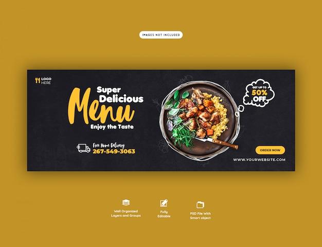 Menu de comida e modelo de capa do facebook restaurante