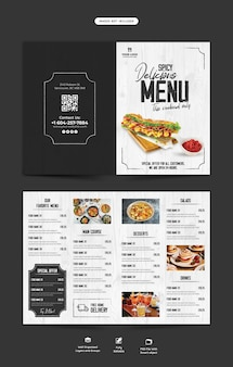 Menu de comida e modelo de folheto bifold do restaurante