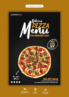 Menu de comida e modelo de folheto de pizza deliciosa