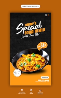 Menu de comida e modelo de história de restaurante