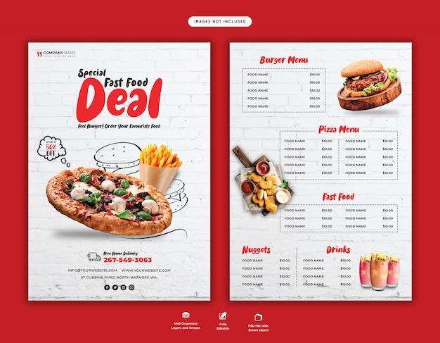 Menu de comida e modelo de panfleto de pizza deliciosa
