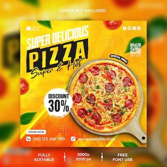 Menu de comida e modelo de postagem no instagram de pizza deliciosa