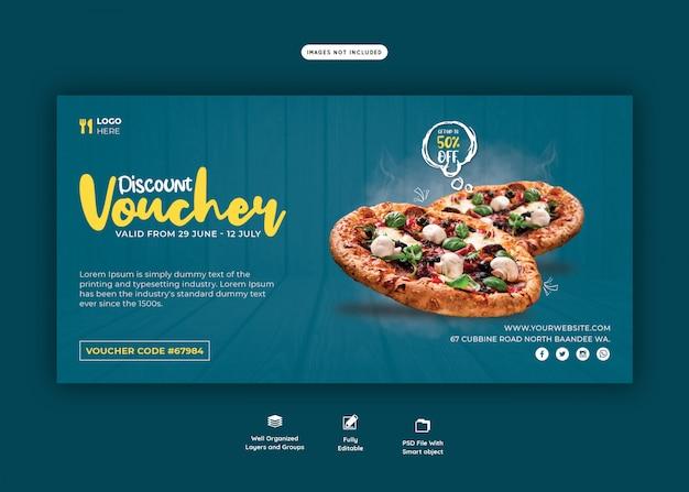 Menu de comida e modelo de vale-presente de pizza deliciosa