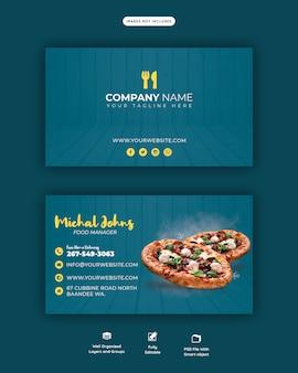Menu de comida e modelo horizontal de negócios ou cartão de visita de pizza deliciosa