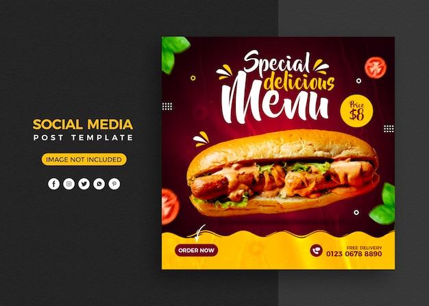 Menu de comida e postagem em mídia social de restaurante e modelo de banner do instagram