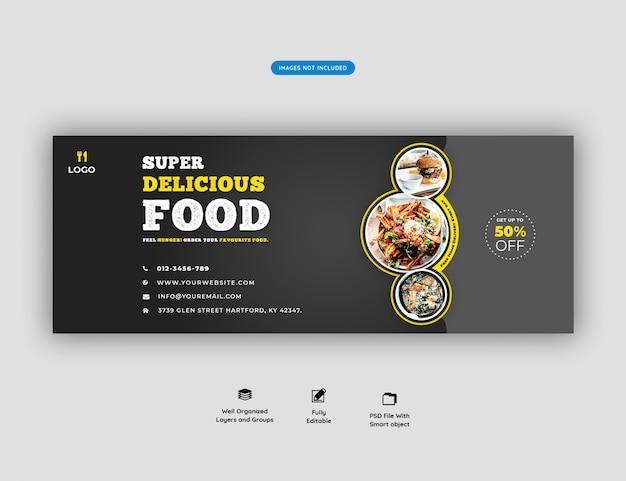 Menu de comida e restaurante modelo de capa para facebook