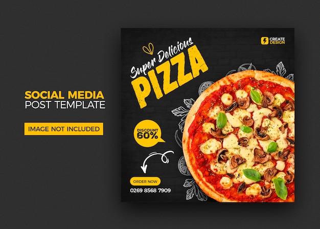 Menu de comida e restaurante modelo de postagem de banner de mídia social