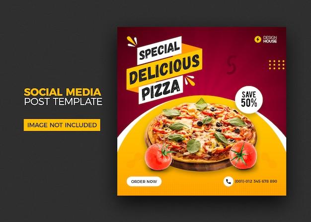 Menu de comida e restaurante pizza mídia social postar modelo