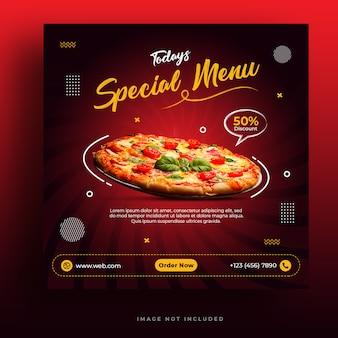 Menu de comida e restaurante pizza modelo de banner de mídia social
