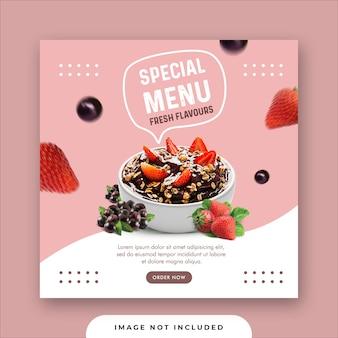 Menu de comida especial mídias sociais instagram post banner template
