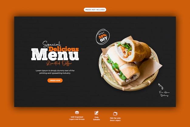 Menu de comida para modelo de banner da web