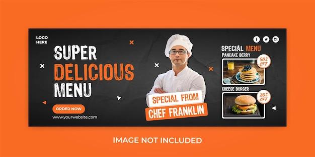 Menu de comida restaurante promoção modelo de capa do facebook