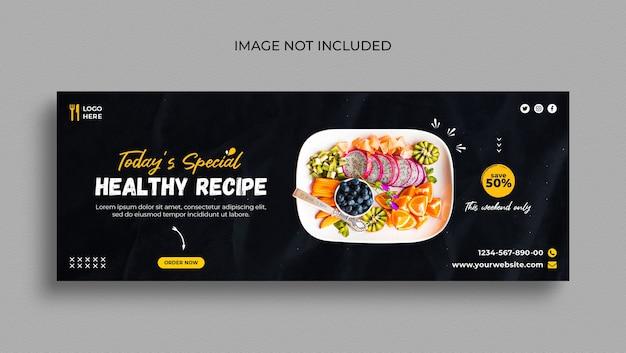 Menu de comida saudável e modelo de capa do facebook de restaurante