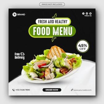 Menu de comida saudável e postagem em redes sociais de restaurante