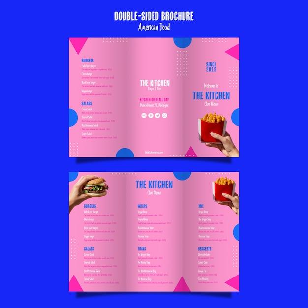 Menu de cozinha brochura dupla face