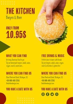 Menu de cozinha com hambúrguer americano