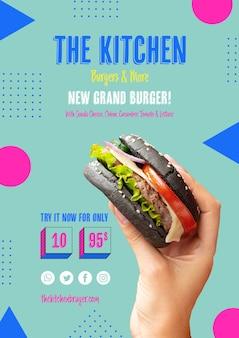 Menu de cozinha com novo modelo de hambúrguer