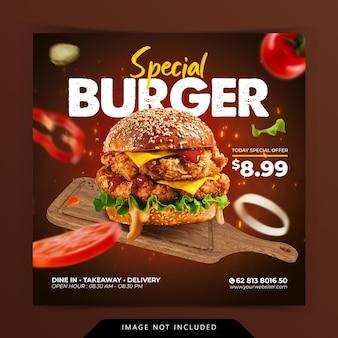 Menu de hambúrguer especial de conceito criativo no modelo de banner de mídia social para promoção de bandeja