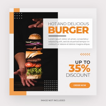 Menu de hambúrguer instagram post banner template