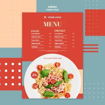 Menu de modelo de comida italiana