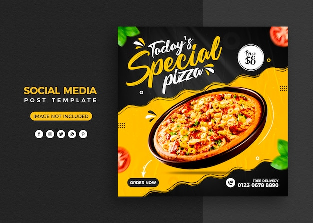 Menu de pizza e postagem em mídia social de restaurante e modelo de banner do instagram