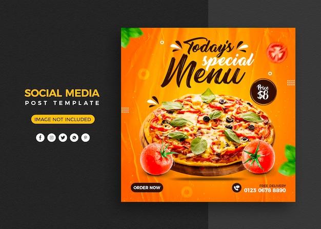 Menu de pizza e postagem em mídia social de restaurante e modelo de banner do instagram Psd Premium