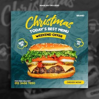 Menu de restaurante de comida natal promoção banner postagem em mídia social