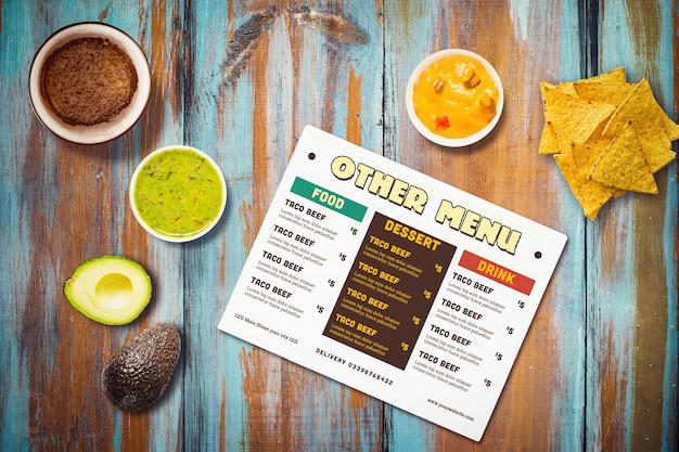 Menu de restaurante mexicano mock-up