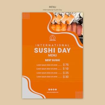 Menu do dia internacional do sushi