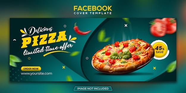 Menu do restaurante mídia social banner da capa do facebook deliciosa pizza premium psd